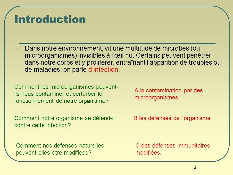 2 Introduction Dans notre environnement, vit une multitude de microbes (ou microorganismes) invisibles à lœil nu. Certains peuvent pénétrer dans notre