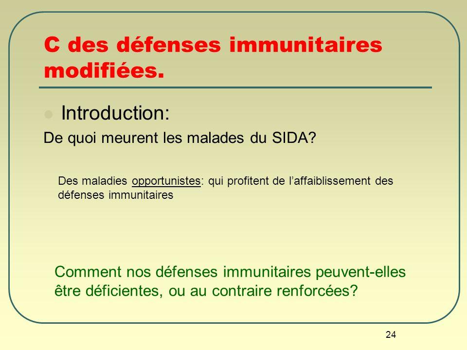 24 C des défenses immunitaires modifiées. Introduction: De quoi meurent les malades du SIDA? Comment nos défenses immunitaires peuvent-elles être défi