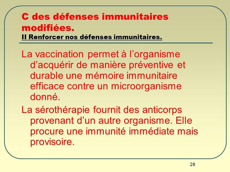 29 C des défenses immunitaires modifiées. II Renforcer nos défenses immunitaires. La vaccination permet à lorganisme dacquérir de manière préventive e