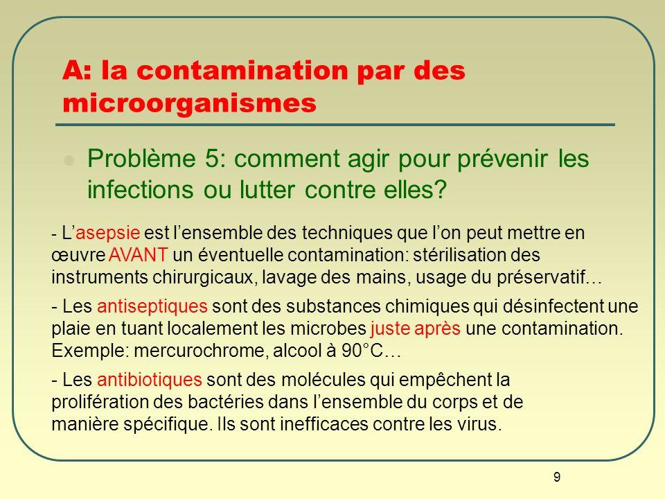 9 A: la contamination par des microorganismes Problème 5: comment agir pour prévenir les infections ou lutter contre elles? - Lasepsie est lensemble d