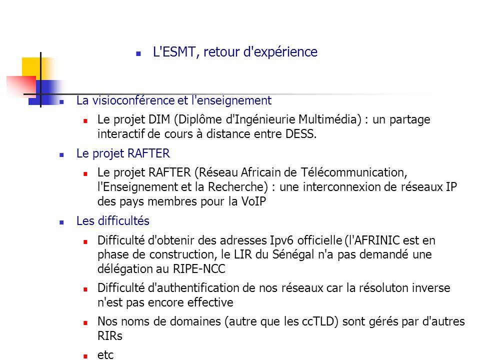 L'ESMT, retour d'expérience La visioconférence et l'enseignement Le projet DIM (Diplôme d'Ingénieurie Multimédia) : un partage interactif de cours à d