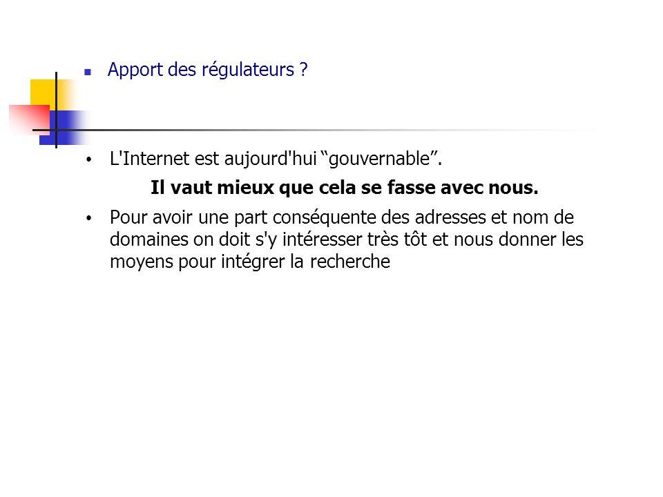 Apport des régulateurs ? L'Internet est aujourd'hui gouvernable. Il vaut mieux que cela se fasse avec nous. Pour avoir une part conséquente des adress