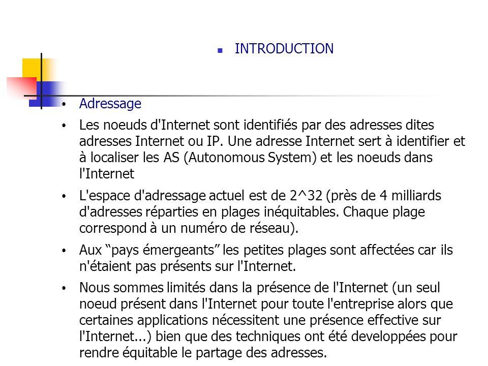 INTRODUCTION Adressage Les noeuds d'Internet sont identifiés par des adresses dites adresses Internet ou IP. Une adresse Internet sert à identifier et