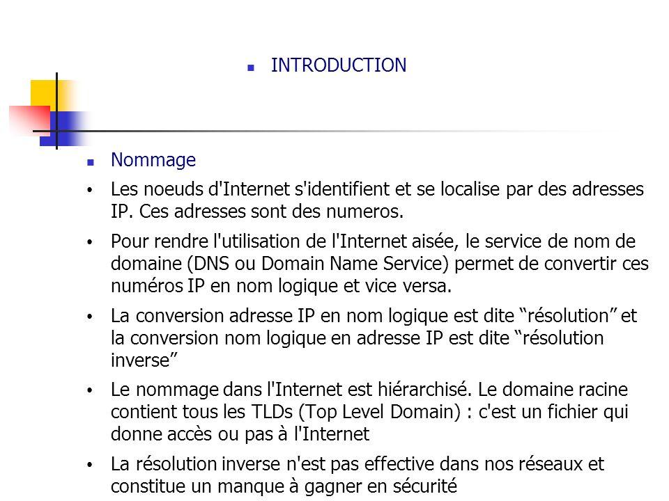 INTRODUCTION Nommage Les noeuds d'Internet s'identifient et se localise par des adresses IP. Ces adresses sont des numeros. Pour rendre l'utilisation