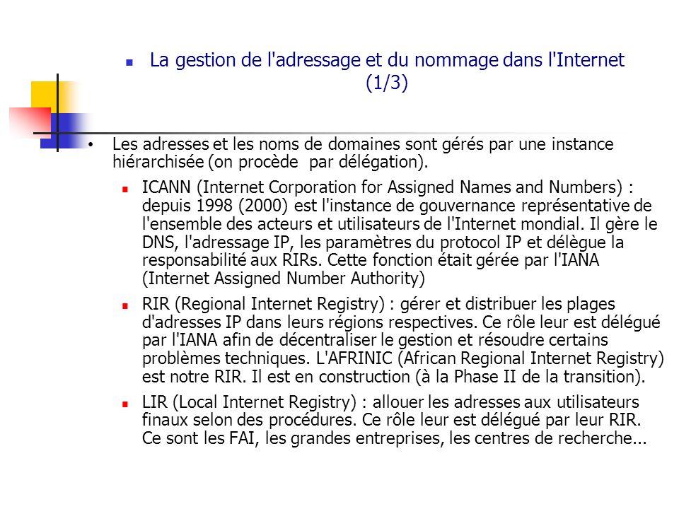 La gestion de l'adressage et du nommage dans l'Internet (1/3) Les adresses et les noms de domaines sont gérés par une instance hiérarchisée (on procèd