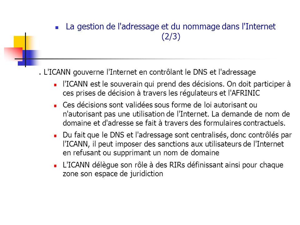 La gestion de l'adressage et du nommage dans l'Internet (2/3). L'ICANN gouverne l'Internet en contrôlant le DNS et l'adressage l'ICANN est le souverai