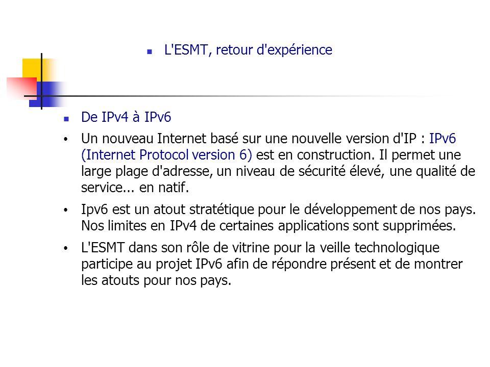 L'ESMT, retour d'expérience De IPv4 à IPv6 Un nouveau Internet basé sur une nouvelle version d'IP : IPv6 (Internet Protocol version 6) est en construc