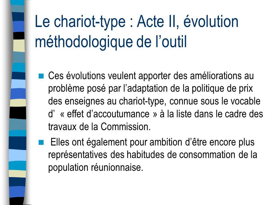 Le chariot-type : Acte II, évolution méthodologique de loutil Enfin, la Commission a statué sur un sujet qui a de tout temps fait débat en son sein.