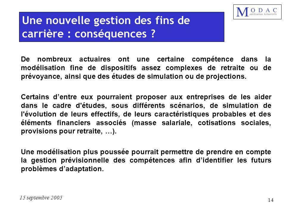 15 septembre 2005 14 De nombreux actuaires ont une certaine compétence dans la modélisation fine de dispositifs assez complexes de retraite ou de prév
