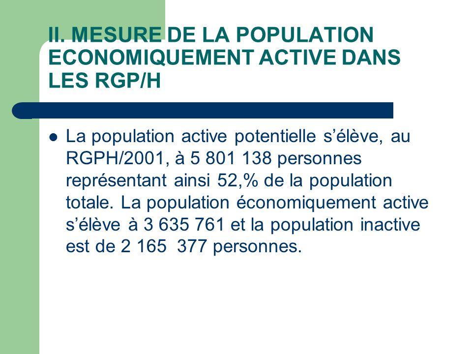 II. MESURE DE LA POPULATION ECONOMIQUEMENT ACTIVE DANS LES RGP/H La population active potentielle sélève, au RGPH/2001, à 5 801 138 personnes représen
