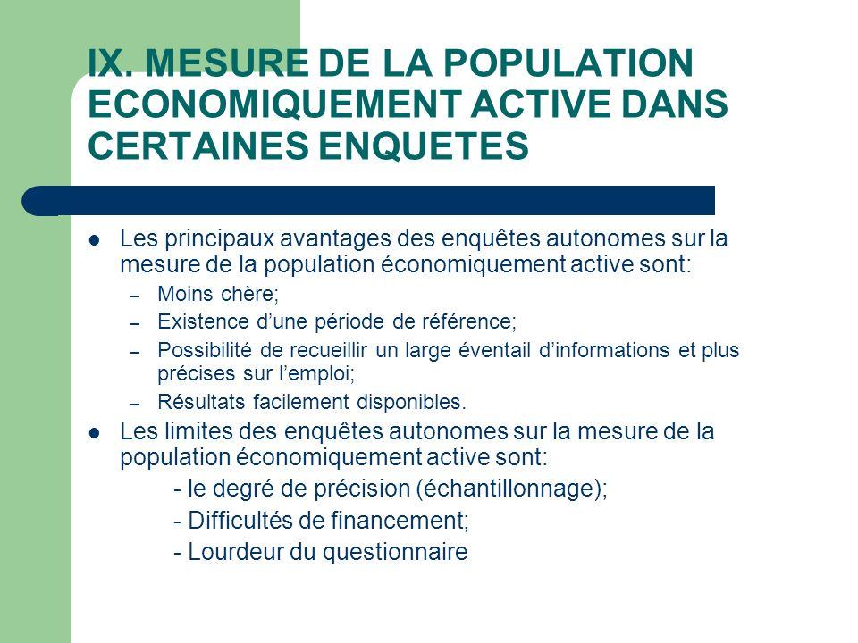 IX. MESURE DE LA POPULATION ECONOMIQUEMENT ACTIVE DANS CERTAINES ENQUETES Les principaux avantages des enquêtes autonomes sur la mesure de la populati