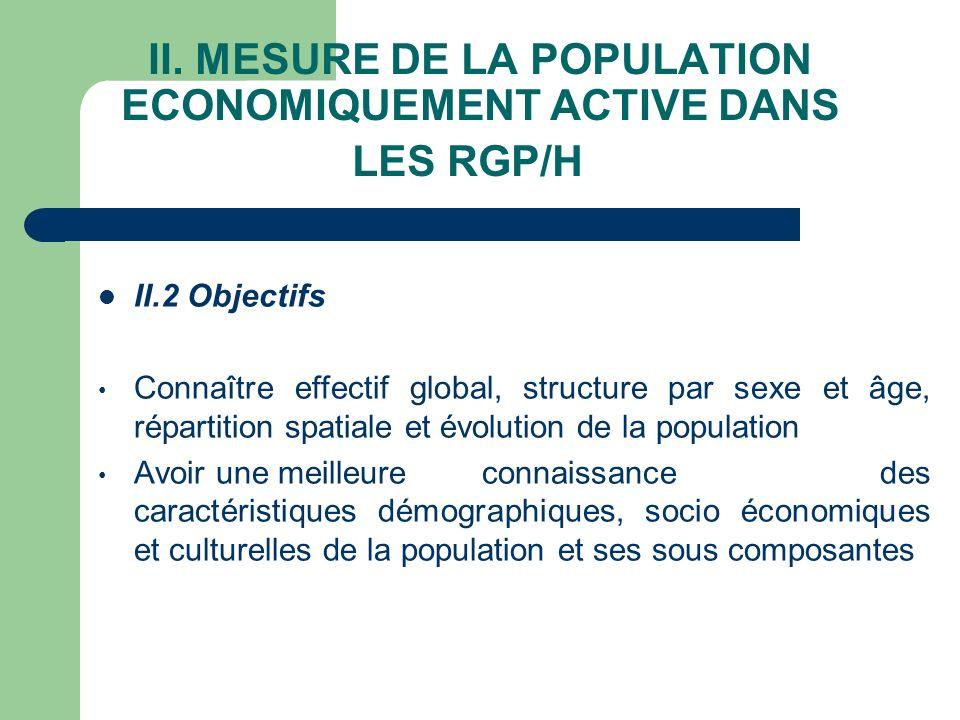 II. MESURE DE LA POPULATION ECONOMIQUEMENT ACTIVE DANS LES RGP/H II.2 Objectifs Connaître effectif global, structure par sexe et âge, répartition spat