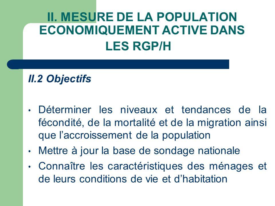 II. MESURE DE LA POPULATION ECONOMIQUEMENT ACTIVE DANS LES RGP/H II.2 Objectifs Déterminer les niveaux et tendances de la fécondité, de la mortalité e