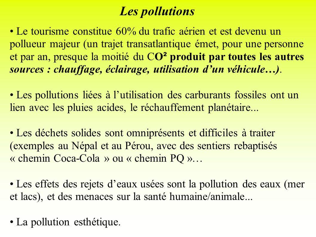 Les pollutions Le tourisme constitue 60% du trafic aérien et est devenu un pollueur majeur (un trajet transatlantique émet, pour une personne et par a