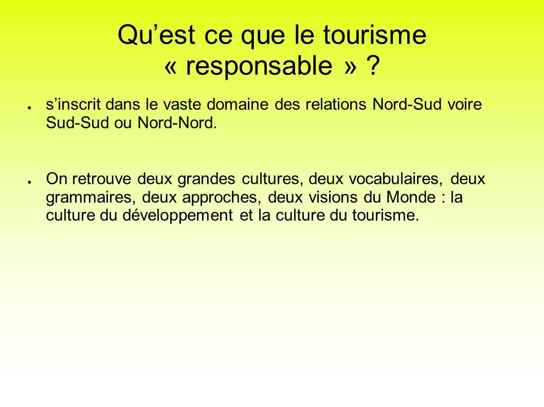 Quest ce que le tourisme « responsable » ? sinscrit dans le vaste domaine des relations Nord-Sud voire Sud-Sud ou Nord-Nord. On retrouve deux grandes