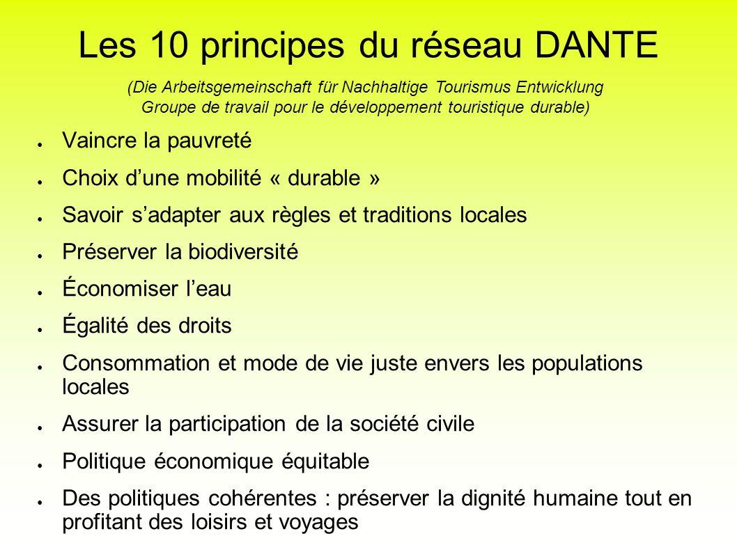 Les 10 principes du réseau DANTE Vaincre la pauvreté Choix dune mobilité « durable » Savoir sadapter aux règles et traditions locales Préserver la bio