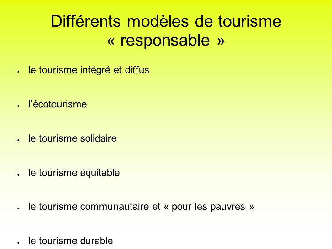 Différents modèles de tourisme « responsable » le tourisme intégré et diffus lécotourisme le tourisme solidaire le tourisme équitable le tourisme comm