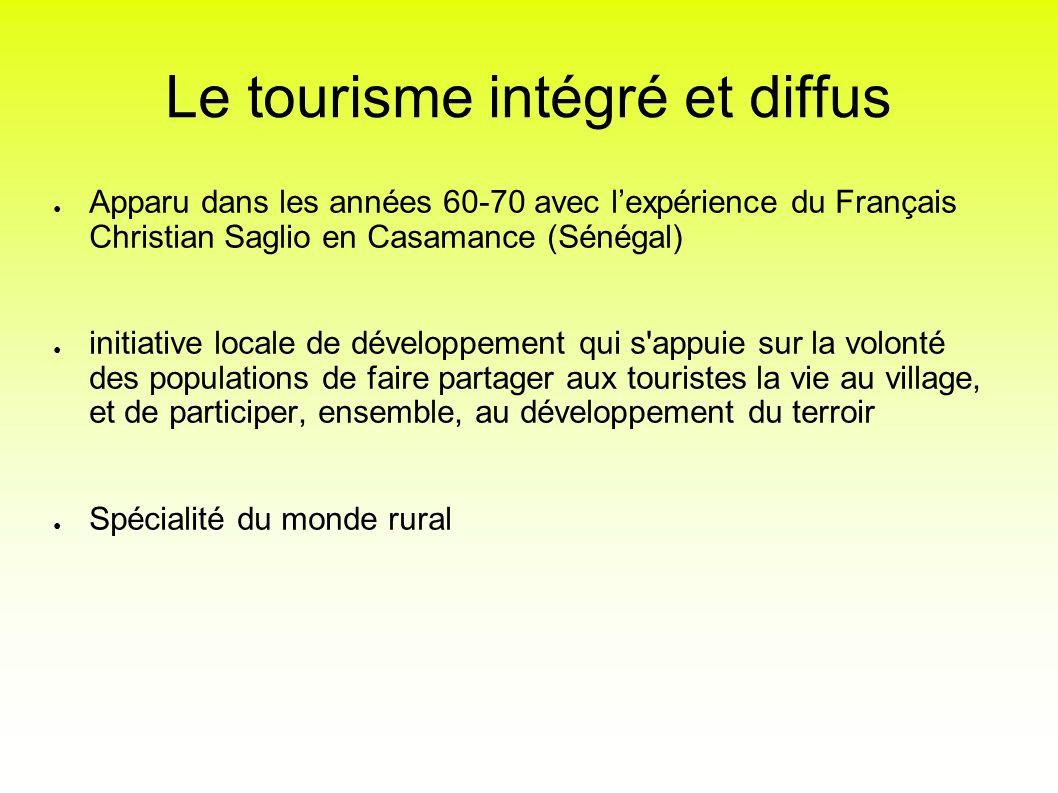 Le tourisme intégré et diffus Apparu dans les années 60-70 avec lexpérience du Français Christian Saglio en Casamance (Sénégal) initiative locale de d