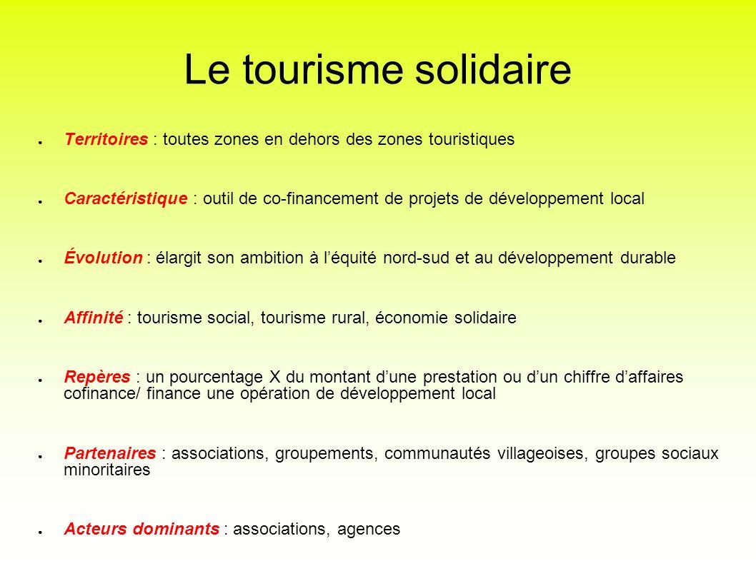 Le tourisme solidaire Territoires : toutes zones en dehors des zones touristiques Caractéristique : outil de co-financement de projets de développemen