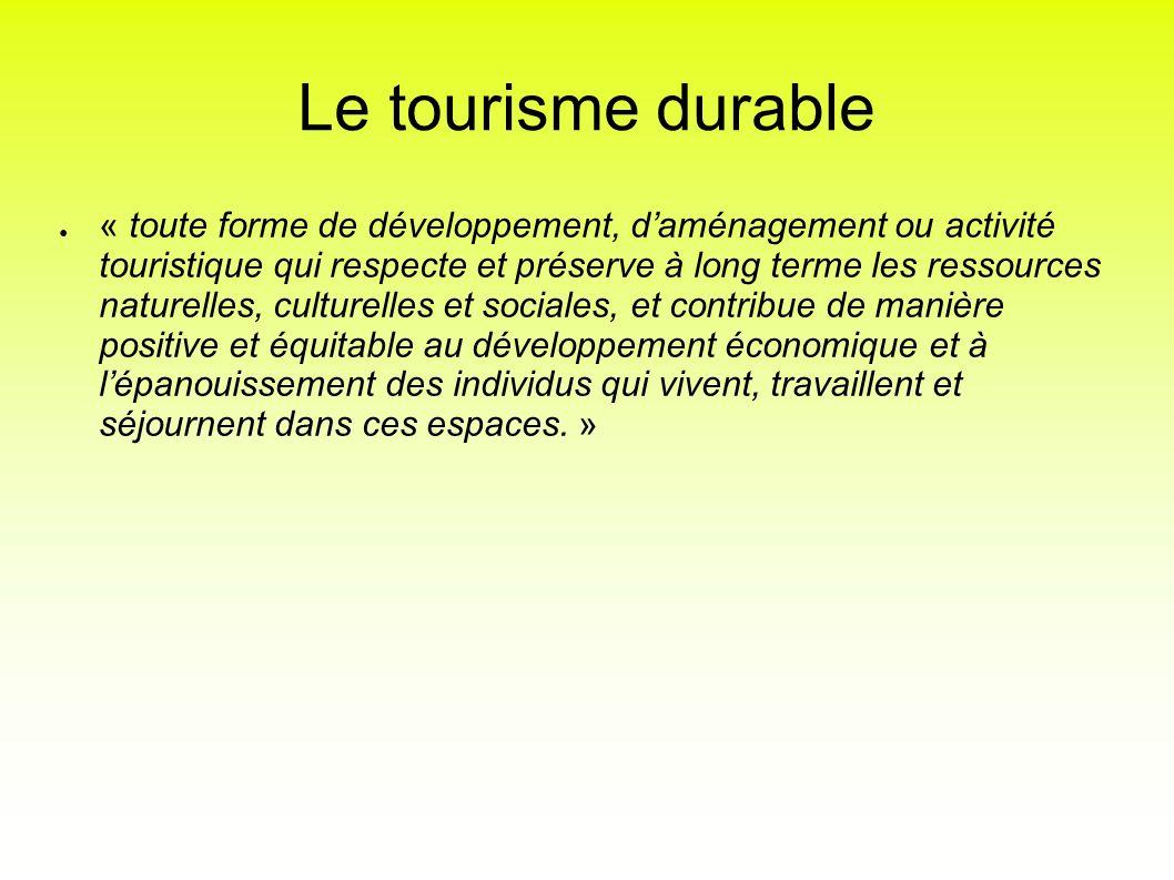 Le tourisme durable « toute forme de développement, daménagement ou activité touristique qui respecte et préserve à long terme les ressources naturell