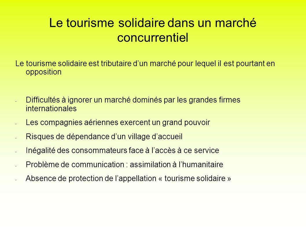 Le tourisme solidaire dans un marché concurrentiel Le tourisme solidaire est tributaire dun marché pour lequel il est pourtant en opposition - Difficu