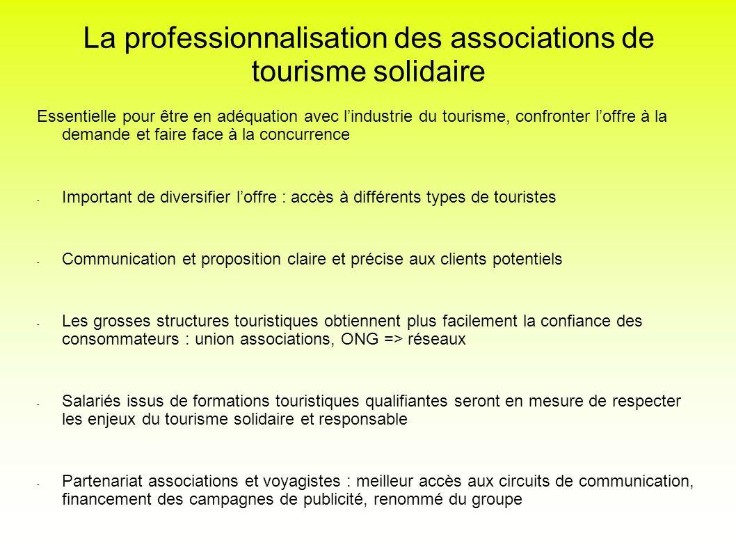 La professionnalisation des associations de tourisme solidaire Essentielle pour être en adéquation avec lindustrie du tourisme, confronter loffre à la