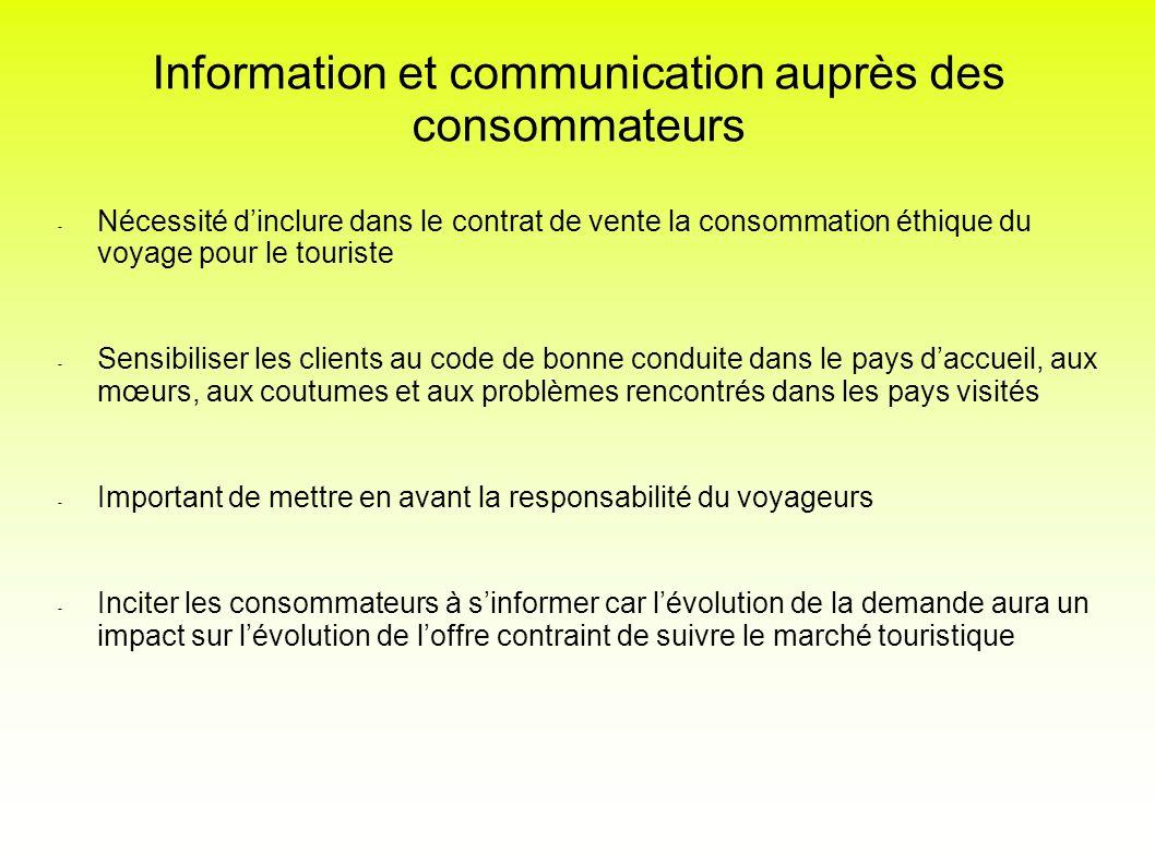 Information et communication auprès des consommateurs - Nécessité dinclure dans le contrat de vente la consommation éthique du voyage pour le touriste