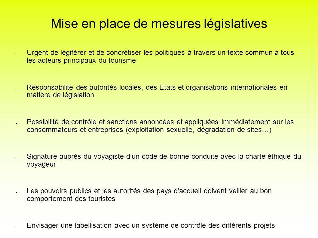 Mise en place de mesures législatives - Urgent de légiférer et de concrétiser les politiques à travers un texte commun à tous les acteurs principaux d