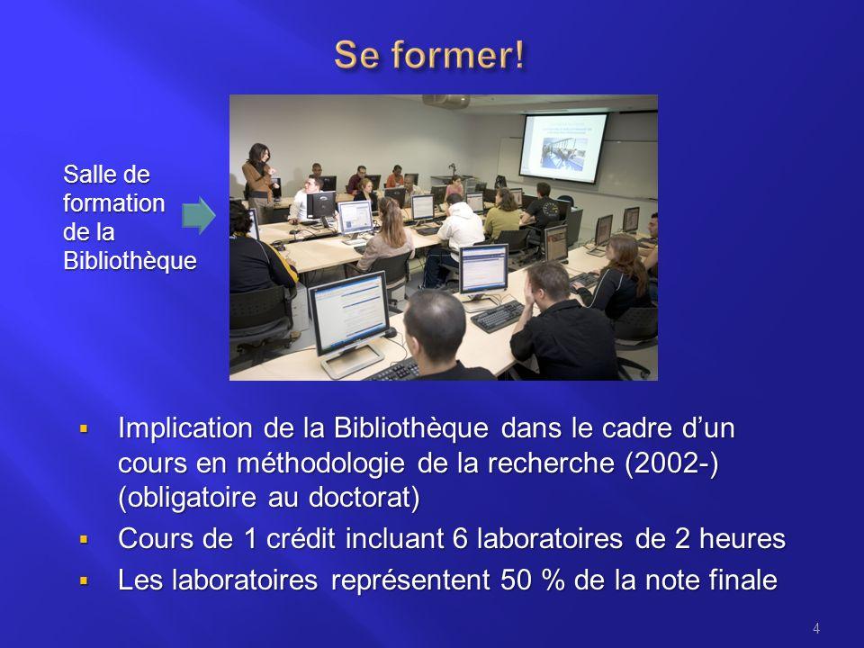 4 Implication de la Bibliothèque dans le cadre dun cours en méthodologie de la recherche (2002-) (obligatoire au doctorat) Implication de la Bibliothè