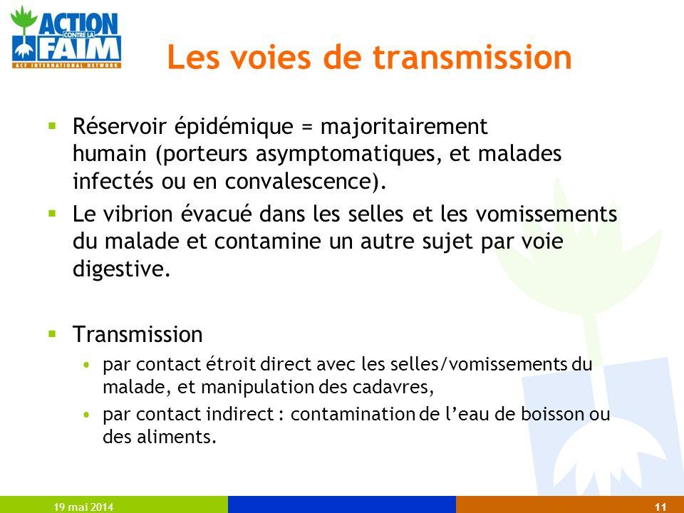 19 mai 201411 Les voies de transmission Réservoir épidémique = majoritairement humain (porteurs asymptomatiques, et malades infectés ou en convalescen
