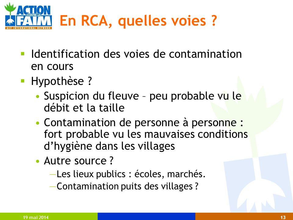 19 mai 201413 En RCA, quelles voies ? Identification des voies de contamination en cours Hypothèse ? Suspicion du fleuve – peu probable vu le débit et