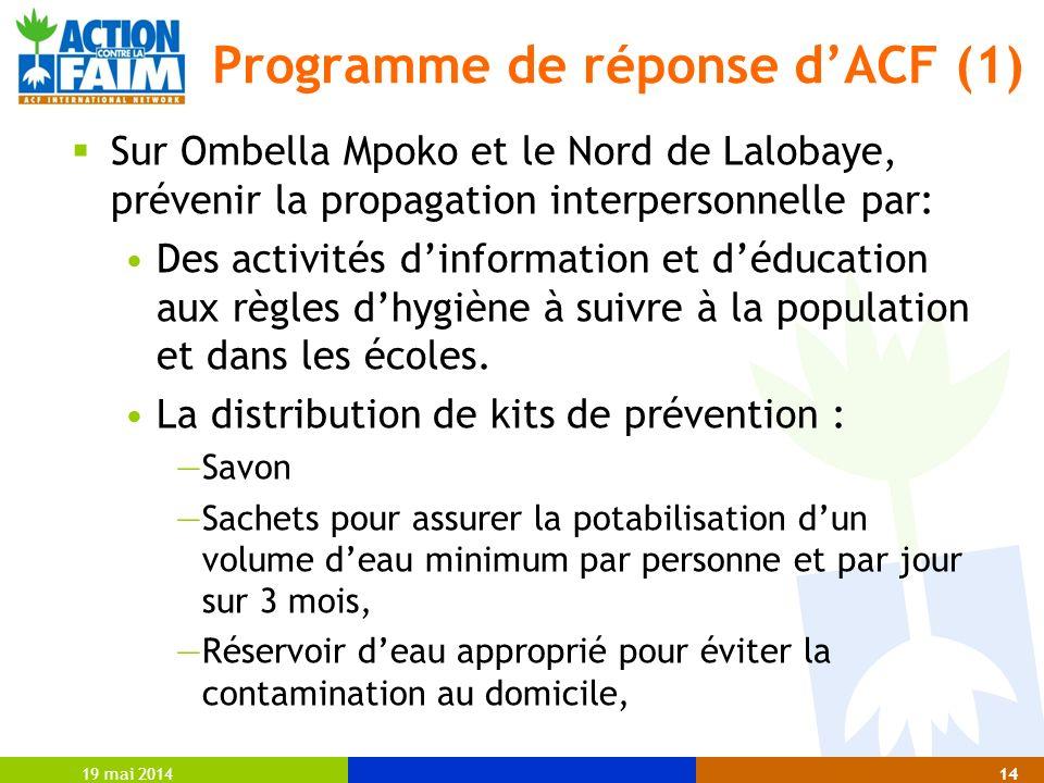19 mai 201414 Programme de réponse dACF (1) Sur Ombella Mpoko et le Nord de Lalobaye, prévenir la propagation interpersonnelle par: Des activités dinf