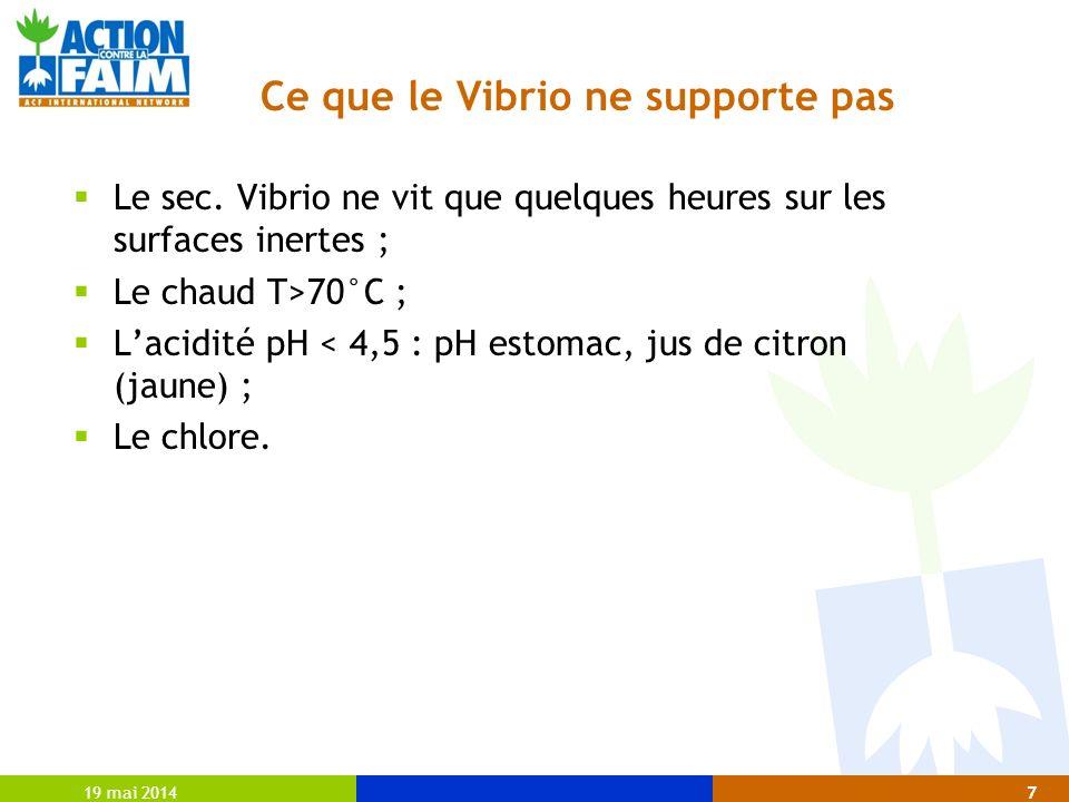 19 mai 20147 Ce que le Vibrio ne supporte pas Le sec. Vibrio ne vit que quelques heures sur les surfaces inertes ; Le chaud T>70°C ; Lacidité pH < 4,5