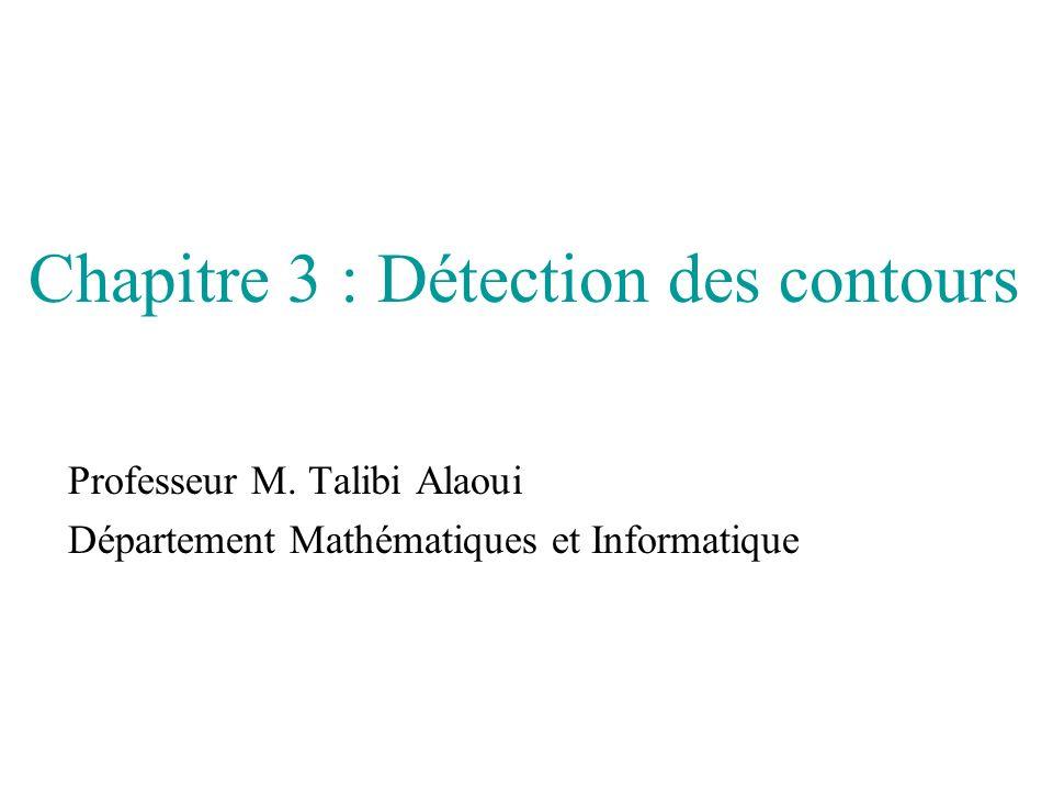 Chapitre 3 : Détection des contours Professeur M. Talibi Alaoui Département Mathématiques et Informatique