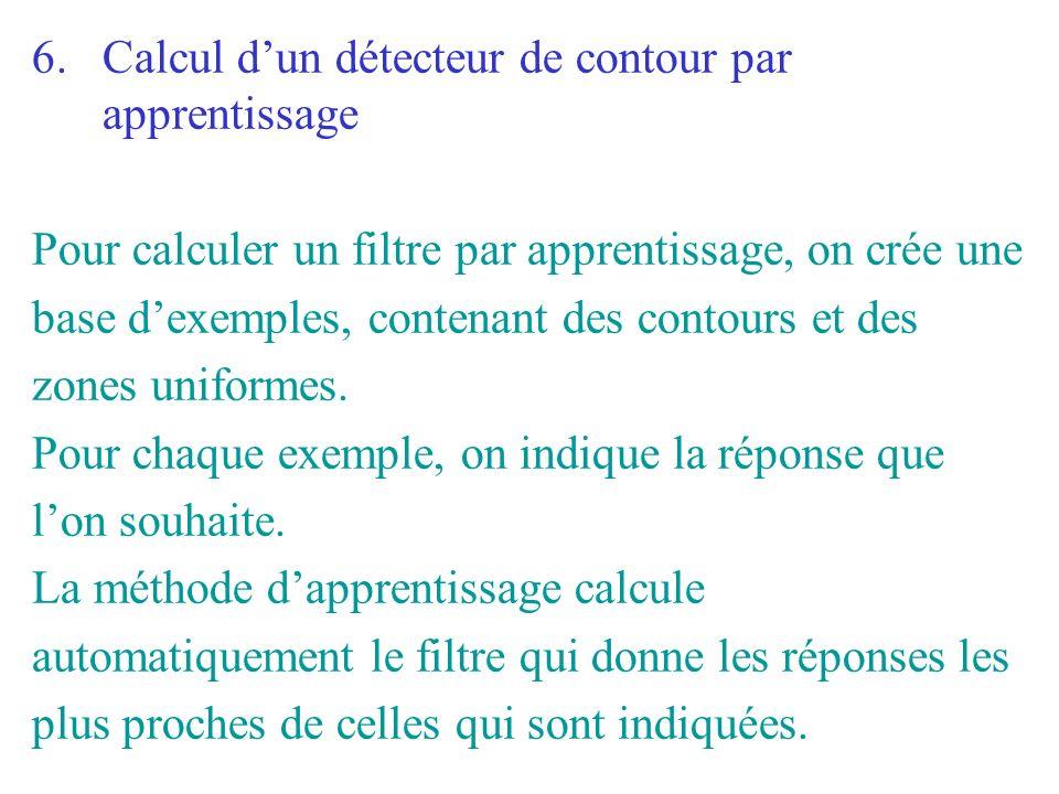 6.Calcul dun détecteur de contour par apprentissage Pour calculer un filtre par apprentissage, on crée une base dexemples, contenant des contours et d