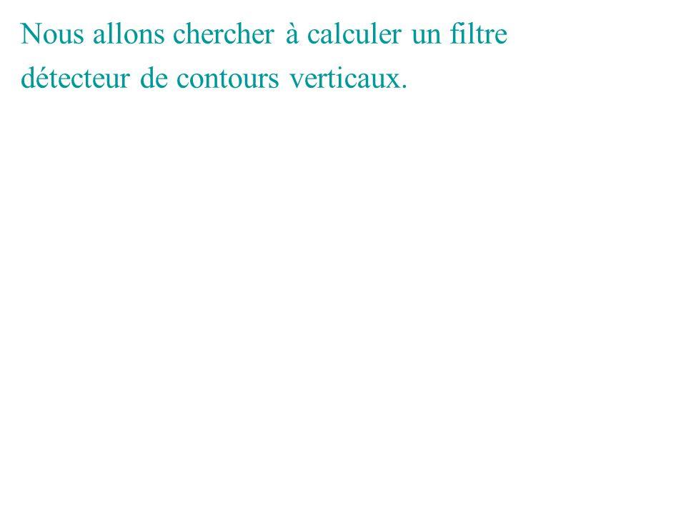 Nous allons chercher à calculer un filtre détecteur de contours verticaux.