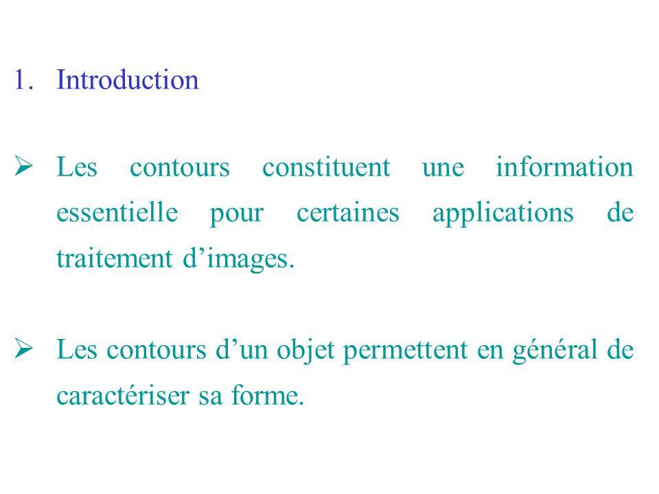 1.Introduction Les contours constituent une information essentielle pour certaines applications de traitement dimages. Les contours dun objet permette