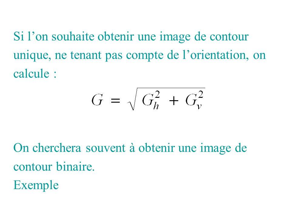 Si lon souhaite obtenir une image de contour unique, ne tenant pas compte de lorientation, on calcule : On cherchera souvent à obtenir une image de co