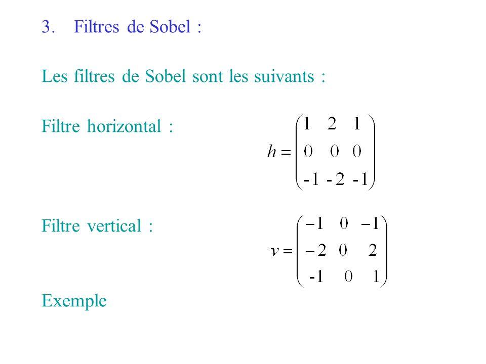 3.Filtres de Sobel : Les filtres de Sobel sont les suivants : Filtre horizontal : Filtre vertical : Exemple