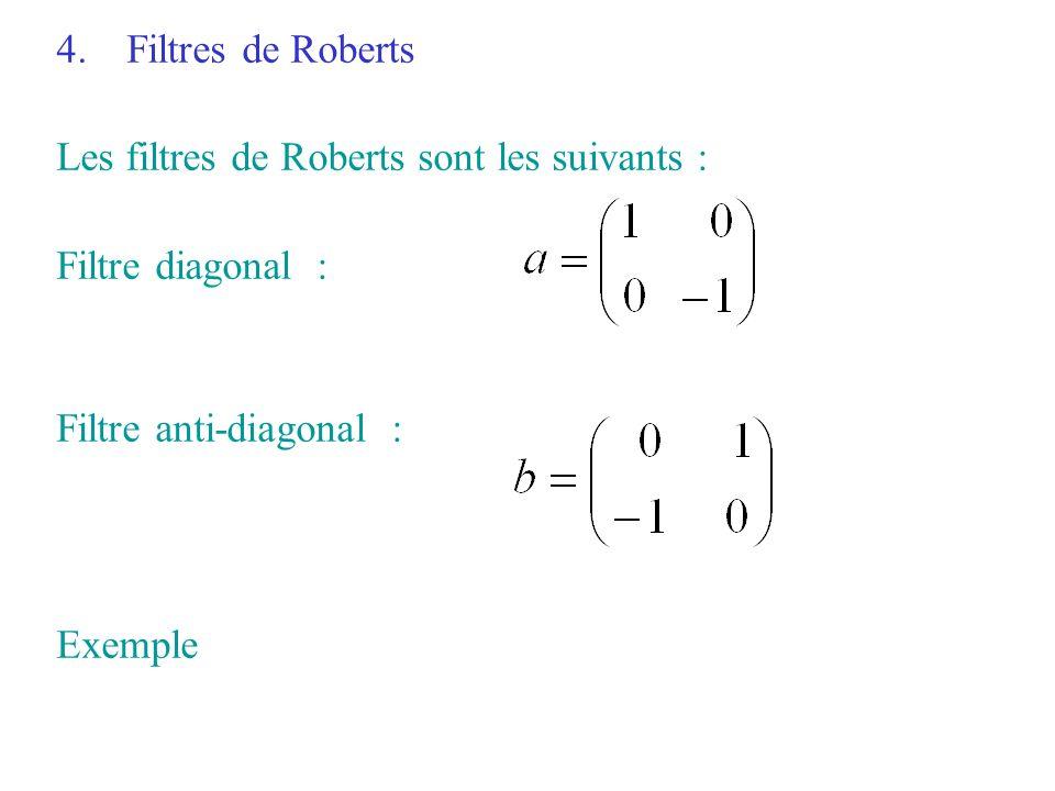 4.Filtres de Roberts Les filtres de Roberts sont les suivants : Filtre diagonal : Filtre anti-diagonal : Exemple