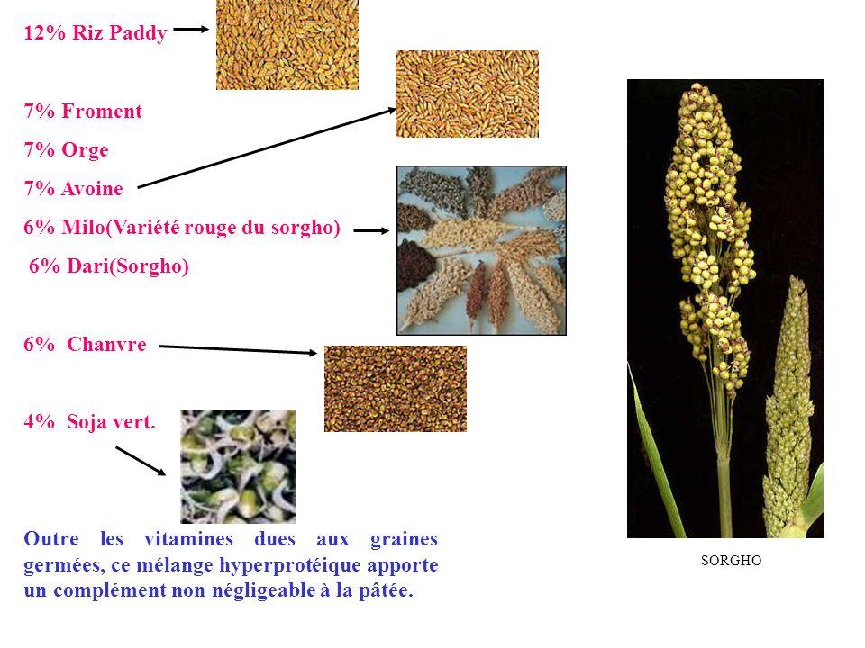 12% Riz Paddy 7% Froment 7% Orge 7% Avoine 6% Milo(Variété rouge du sorgho) 6% Dari(Sorgho) 6% Chanvre 4% Soja vert. Outre les vitamines dues aux grai
