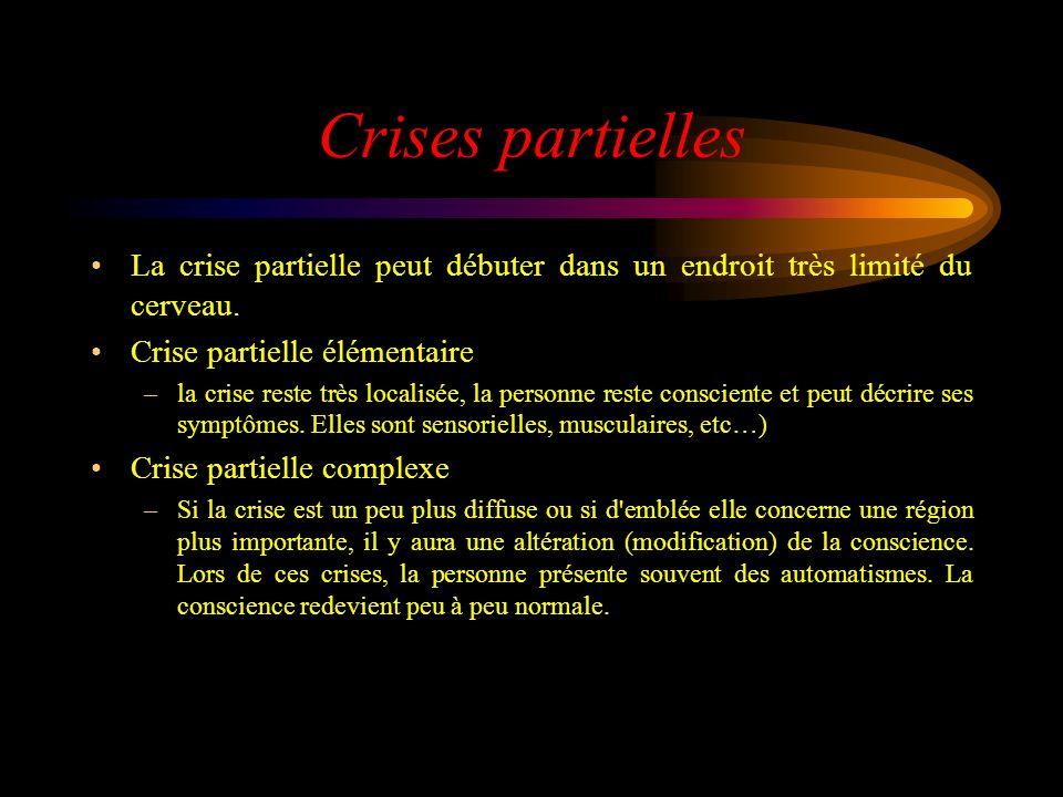 Crises partielles La crise partielle peut débuter dans un endroit très limité du cerveau. Crise partielle élémentaire –la crise reste très localisée,