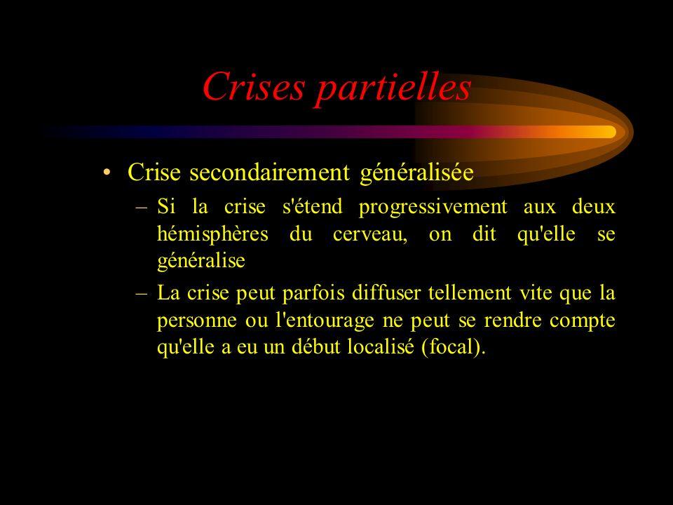 Crises partielles Crise secondairement généralisée –Si la crise s'étend progressivement aux deux hémisphères du cerveau, on dit qu'elle se généralise