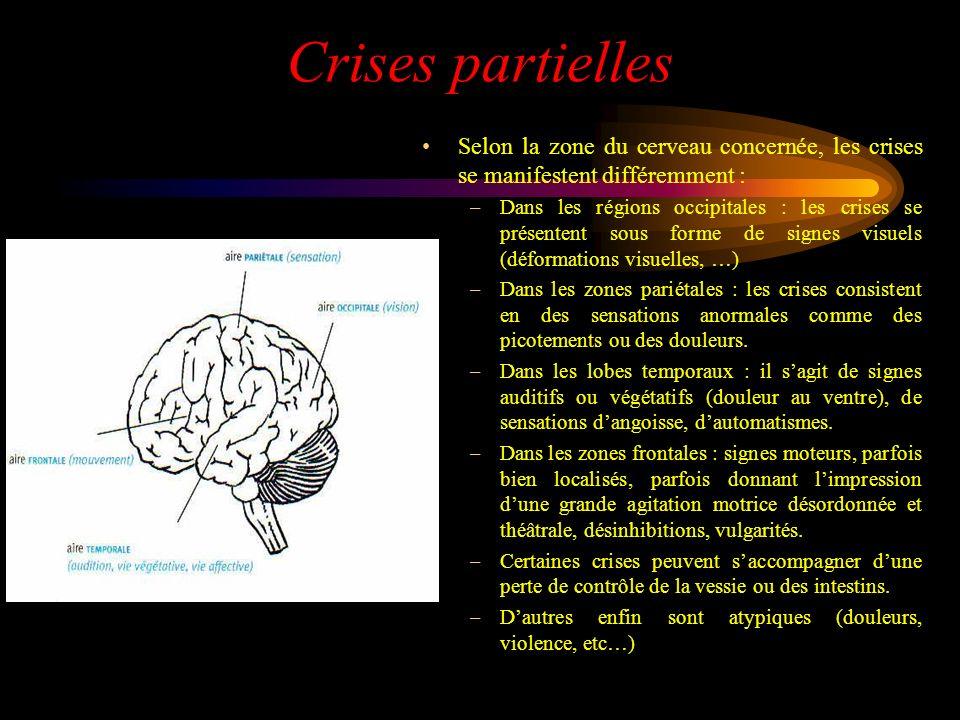 Crises partielles Selon la zone du cerveau concernée, les crises se manifestent différemment : –Dans les régions occipitales : les crises se présenten
