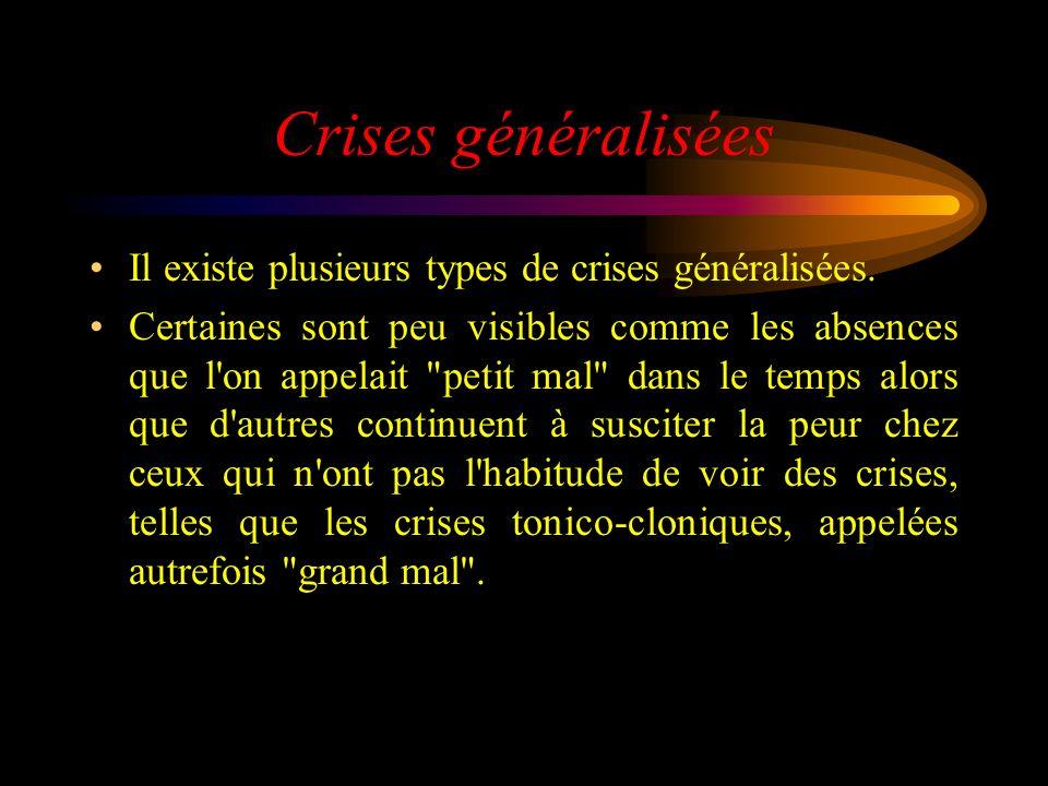 Crises généralisées Il existe plusieurs types de crises généralisées. Certaines sont peu visibles comme les absences que l'on appelait