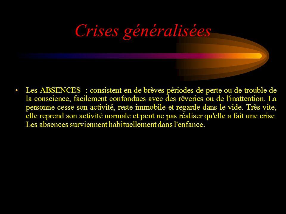 Crises généralisées Les ABSENCES : consistent en de brèves périodes de perte ou de trouble de la conscience, facilement confondues avec des rêveries o