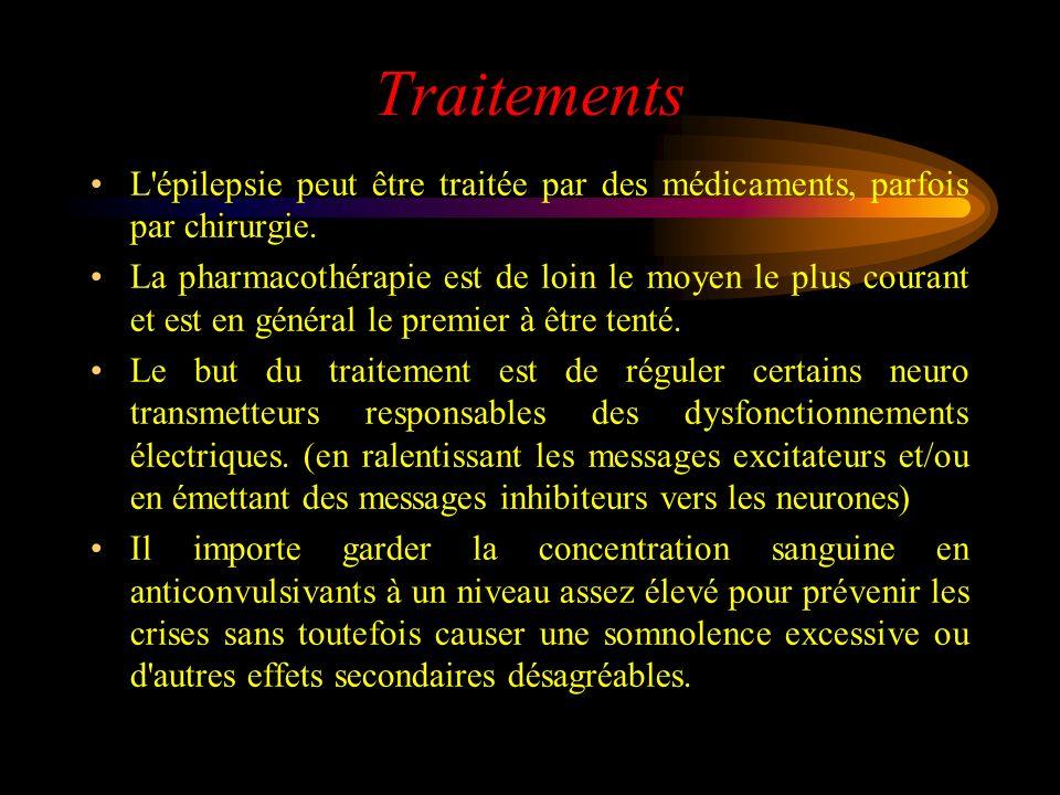 Traitements L'épilepsie peut être traitée par des médicaments, parfois par chirurgie. La pharmacothérapie est de loin le moyen le plus courant et est