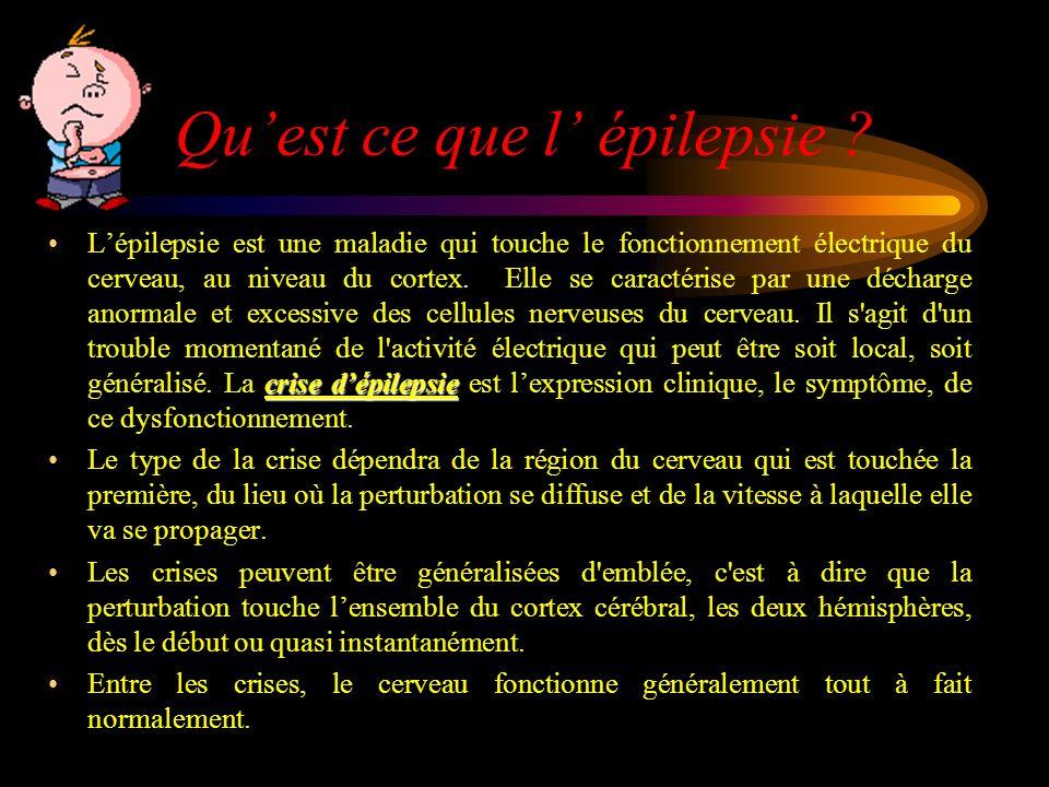 Quest ce que l épilepsie ? crise dépilepsieLépilepsie est une maladie qui touche le fonctionnement électrique du cerveau, au niveau du cortex. Elle se