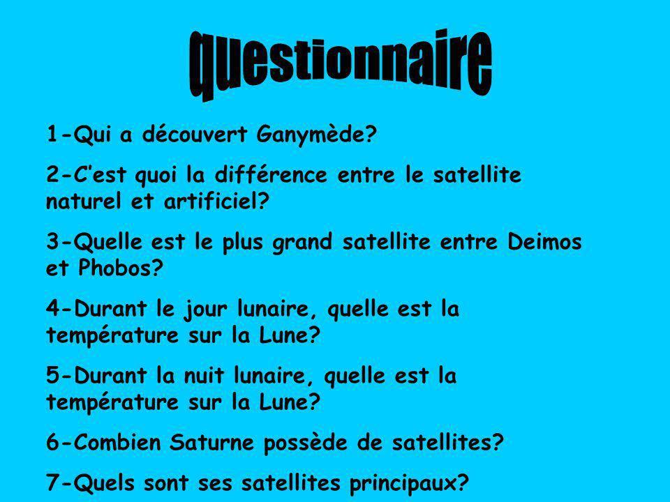 1-Qui a découvert Ganymède.2-Cest quoi la différence entre le satellite naturel et artificiel.