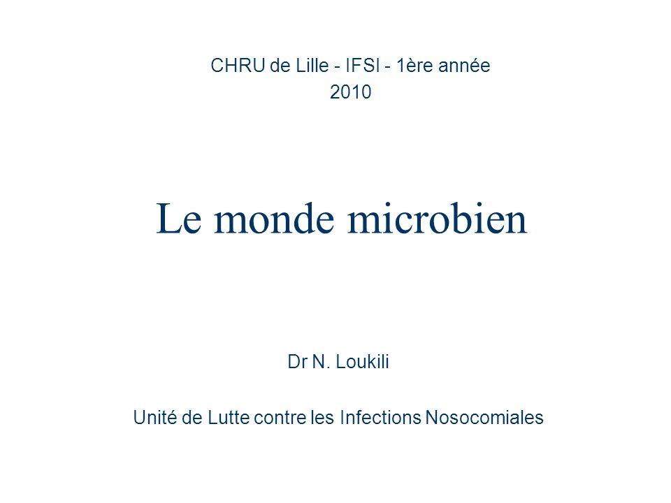 Le monde microbien CHRU de Lille - IFSI - 1ère année 2010 Dr N. Loukili Unité de Lutte contre les Infections Nosocomiales